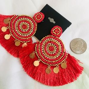 Jewelry - NWT Large Red and Gold Tassel Fringe Earrings